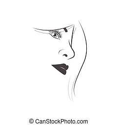 Young woman face on white background
