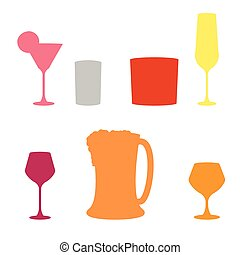 set of Alcoholic beverages , vector icon