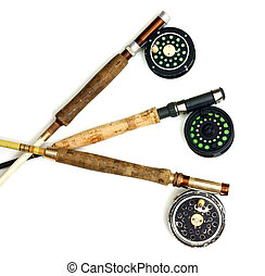 Arranged fly fishing rods and reels - Three used rods and...