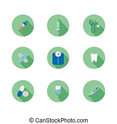 medical equipment icon set vector