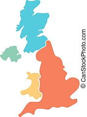 United Kingdom, aka UK, of Great Britain and Northern Ireland hand-drawn blank map. Divided to four countries in different colors - England, Wales, Scotland and NI. Simple flat vector illustration