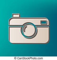 Digital photo camera sign. Vector. Icon printed at 3d on sea...