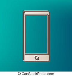 Abstract style modern gadget with blank screen. Template for any content. Vector. Icon printed at 3d on sea color background.