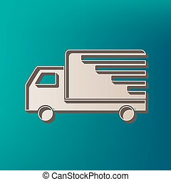 Delivery sign illustration. Vector. Icon printed at 3d on sea color background.