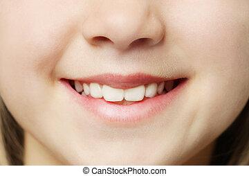 有凸牙, 宏,  -, 嘴唇, 微笑, 牙齒