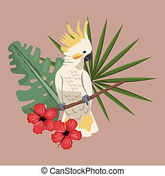 cockatoo bird exotic hibiscus palm leaves vector...