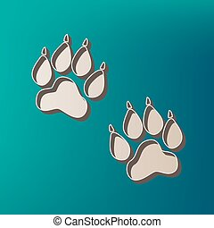 Animal Tracks sign. Vector. Icon printed at 3d on sea color background.