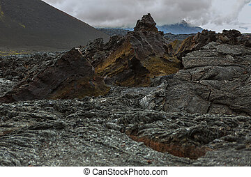 Lava field at Tolbachik volcano, after eruption in 2012,...