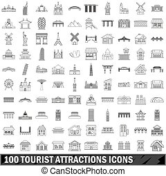 10 tourist attractions icons set, outline style - 100...