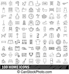 100 home icons set, outline style
