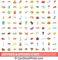100 food and kitchen icons set, cartoon style - 100 food and...