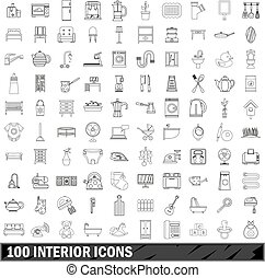 100 interior icons set, outline style - 100 interior icons...
