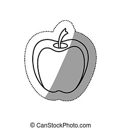 monochrome contour sticker of apple fruit
