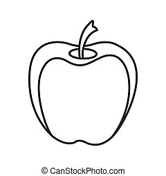 monochrome contour with apple fruit
