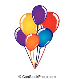 white background with colorful balloons close up