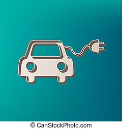 Eco electric car sign. Vector. Icon printed at 3d on sea...