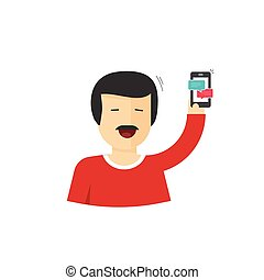 Happy man smiling with hand up holding smartphone vector illustration