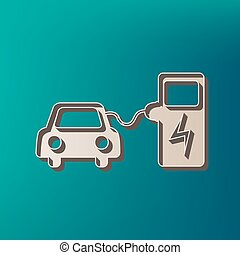 Electric car battery charging sign. Vector. Icon printed at...