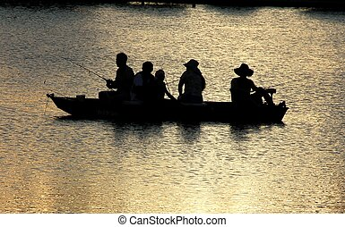 Fishing urban lake over crowded boat
