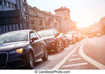 View from below to the lane with cars in traffic jam with...