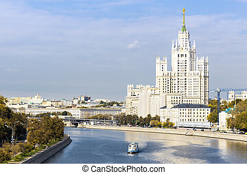 Kotelnicheskaya embankment building, view from the river -...