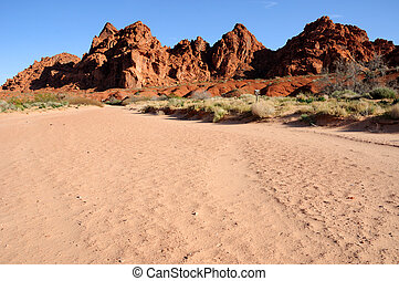 Sandstone Hills above a wash in Valley of Fire State Park