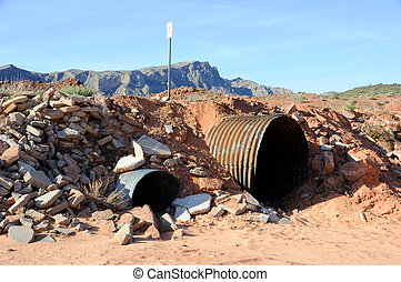 Culvert in Nevada Desert Wash