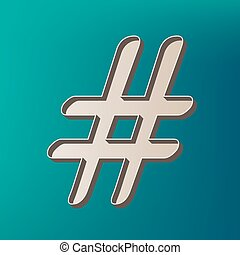 Hashtag sign illustration. Vector. Icon printed at 3d on sea...
