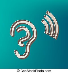 Human ear sign. Vector. Icon printed at 3d on sea color background.