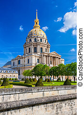 Paris with Les Invalides during spring time, famous landmark...
