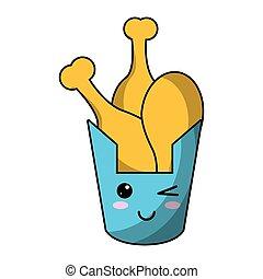 kawaii bucket fried chicken vector illustration eps 10
