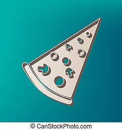 Pizza simple sign. Vector. Icon printed at 3d on sea color background.