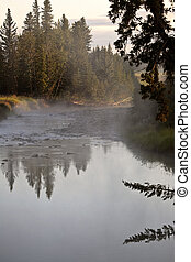 Morning mist over Red Deer River in Alberta