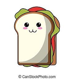 kawaii sandwich tasty food icon