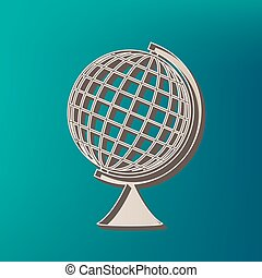 Earth Globe sign. Vector. Icon printed at 3d on sea color...