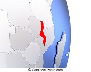 Malawi on elegant modern 3D globe - Map of Malawi on an...