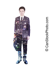 Double exposure of business man with briefcase against the...