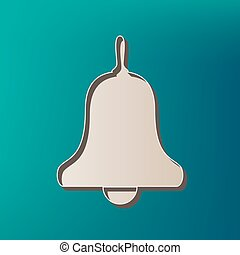 Bell Alarm, handbell sign. Vector. Icon printed at 3d on sea...