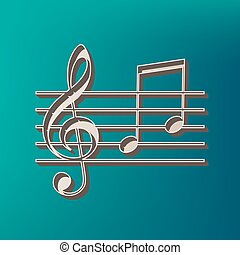 Music violin clef sign. G-clef and notes G, H. Vector. Icon...
