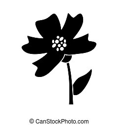 periwinkle flower decoration silhouette vector illustration...