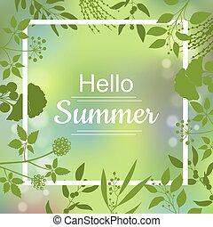 Hello Summer green card design with a textured abstract...