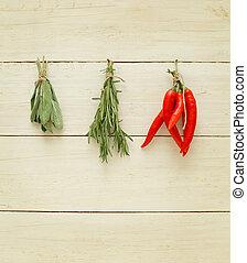 pimienta,  -, sagú, hierbas, romero, chile, especias
