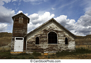 Old abandoned wooden country church at Dorothy Alberta