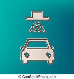 Car wash sign. Vector. Icon printed at 3d on sea color...