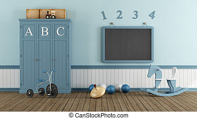 Retro child playroom with blue cabinet, blackboard and toys...