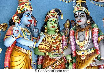 Hindu Deities - Hindu deities at a Hindu temple in Malaysia