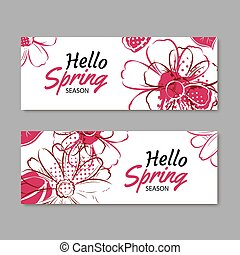 Hello spring season banner template background with colorful flower.Can be use voucher, wallpaper,flyers, invitation, posters, brochure, coupon discount.