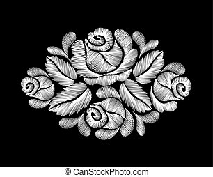 White roses embroidery on black background. ethnic flowers...