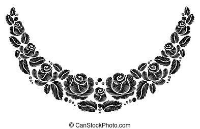 Black roses embroidery on white background. ethnic flowers...