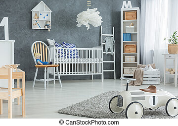 Boy room with cot - Grey boy room with white cot, bookcase...